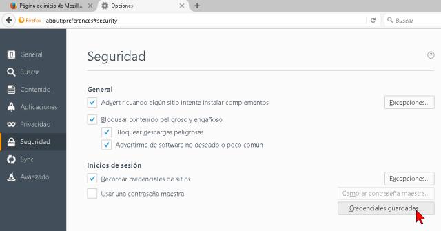 Ventana con las opciones de Seguridad de Firefox