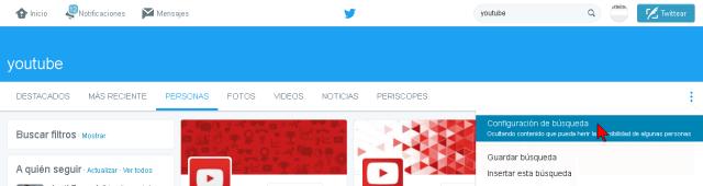 Opción de Configuración de búsqueda de Twitter