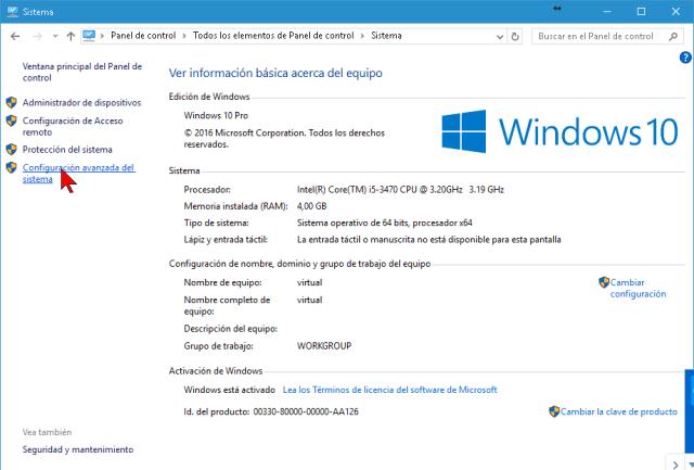 Configuración avanzada del sistema en cómo cambiar las opciones de memoria virtual en Windows 10