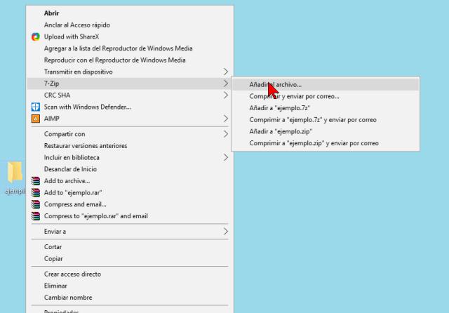 Opción Añadir al archivo para 1 solo archivo para 7-Zip