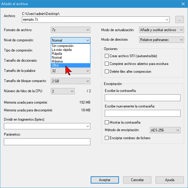 Seleccionando Nivel de compresión Ultra en 7-Zip