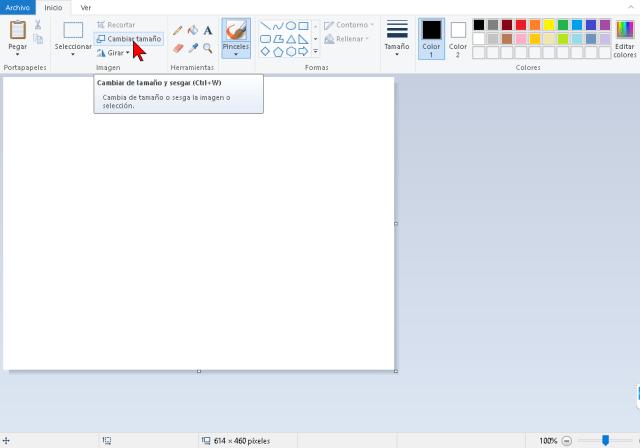 Botón Cambiar tamaño de Microsoft Paint