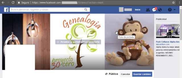 Ejemplo de una foto de portada de Facebook en el tamañol ideal