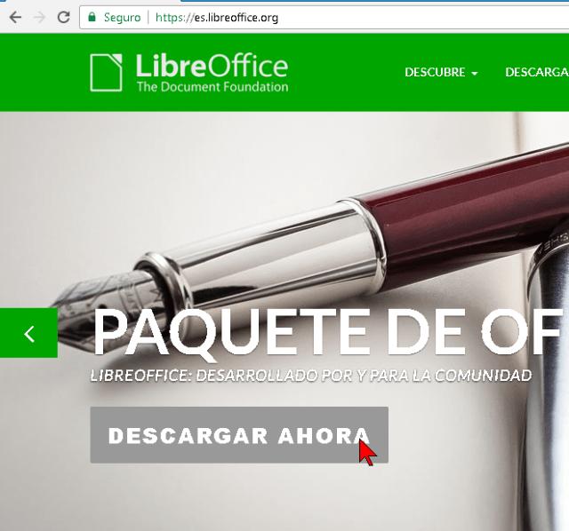 Botón Descargar ahora en la página de Libre Office en español