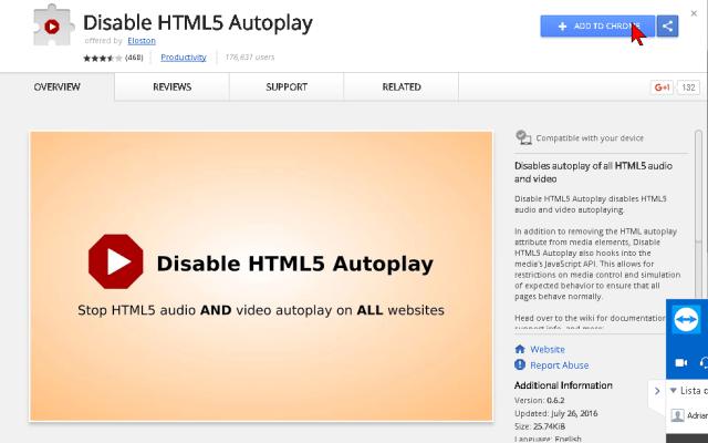 Agregando extensión a Google Chrome en cómo deshabilitar la reproducción automática de videos en HTML5