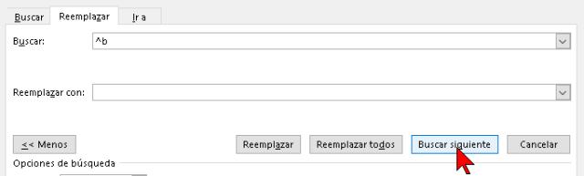 Botón Buscar siguiente en cómo hallar un salto de sección en un documento de Word 2016