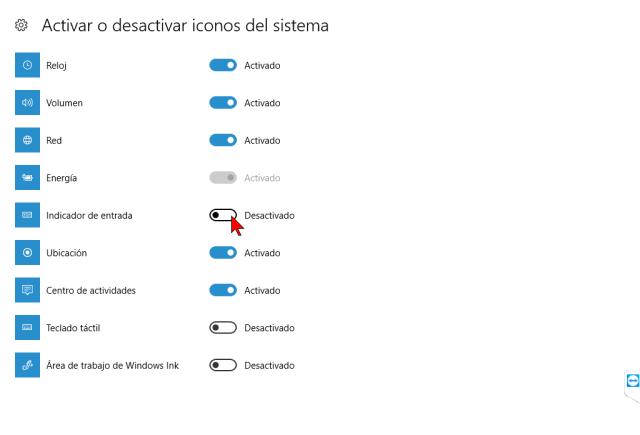 Activando y desactivando iconos del sistema en cómo mostrar u ocultar el botón del teclado táctil en Windows 10
