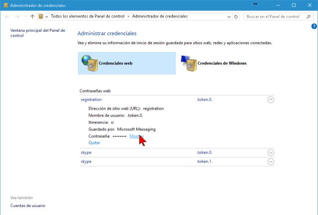 Opción Mostrar para ver la contraseña web guardada por Internet Explorer
