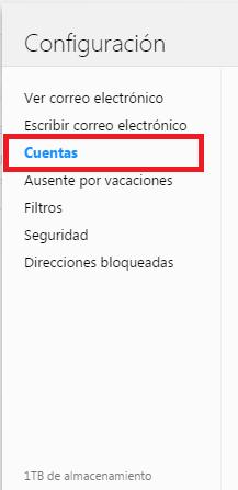 Opción Cuentas de la página de Configuración de Yahoo Mail