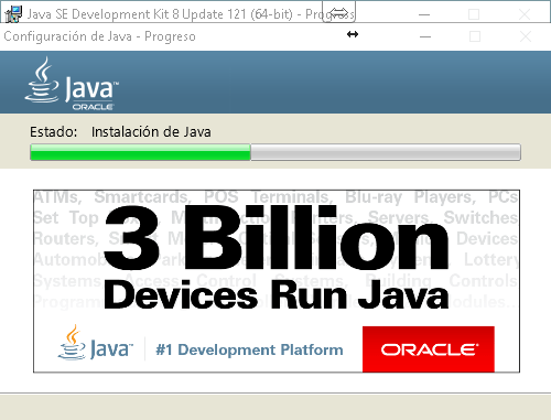 Barra de progreso de instalación del Java JRE en cómo descargar e instalar Java JDK en Windows 10