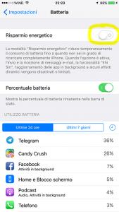 risparmio energetico ios iphone
