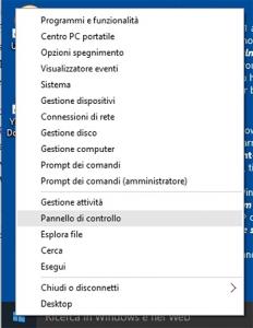 aprire pannello di controllo in windows 10