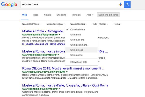 ricerca con google per data