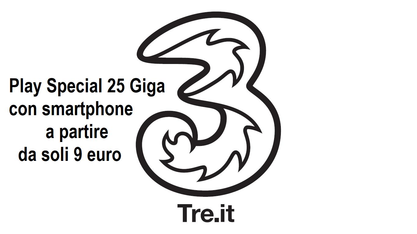 Tre Play Special 25 Giga con smartphone incluso a soli 9