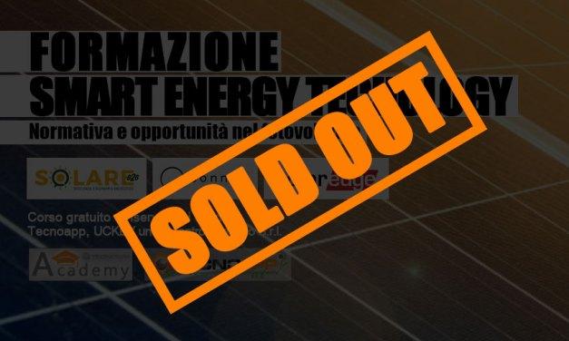 SOLD OUT! Iscrizioni chiuse per il corso di formazione Smart Energy Technology–venerdì 20 settembre 2019.