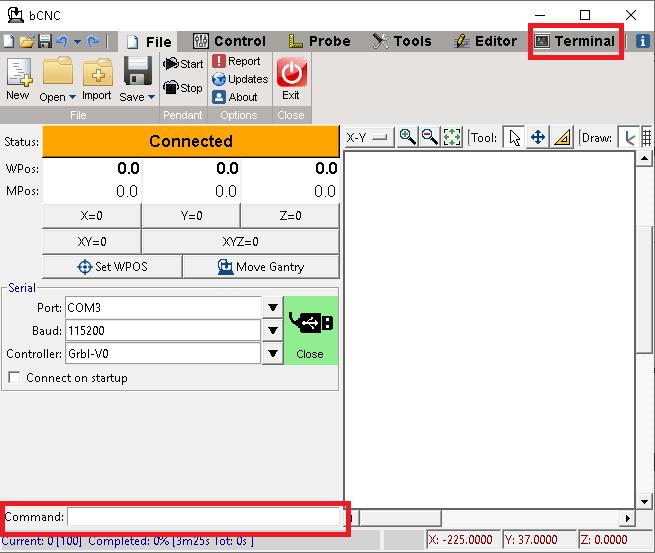 COnfiguración de BCNC entrada de comandos