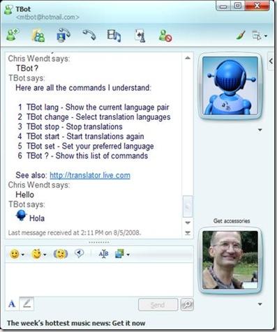 Tradução instantânea no MSN?