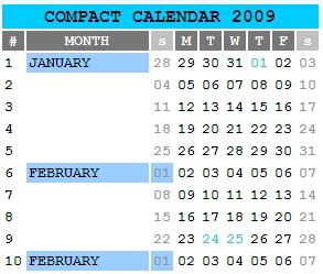 Crie um calendário compacto para 2009