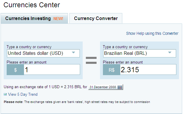 Conversor de moedas e histórico de cotações