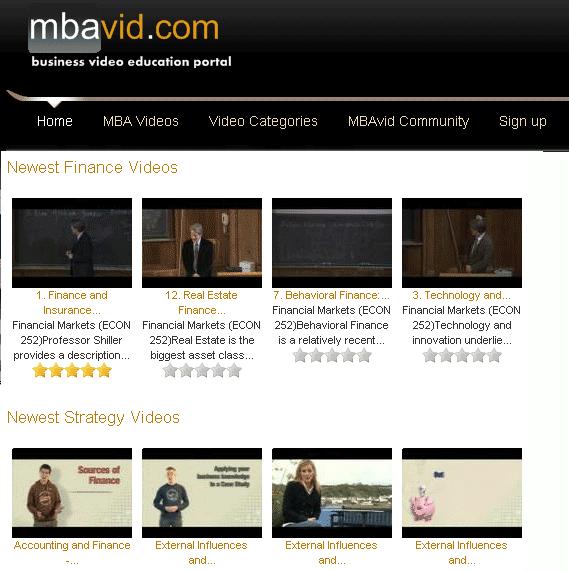 Material de MBA online em vídeo
