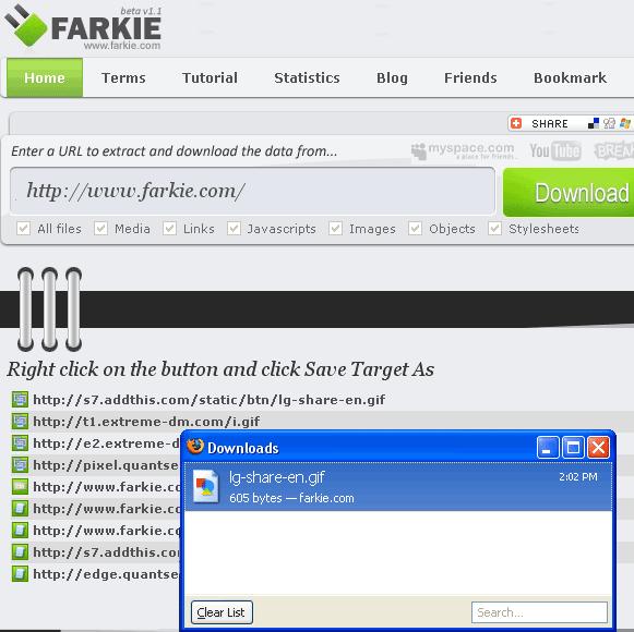 Download de arquivos inseridos em sites