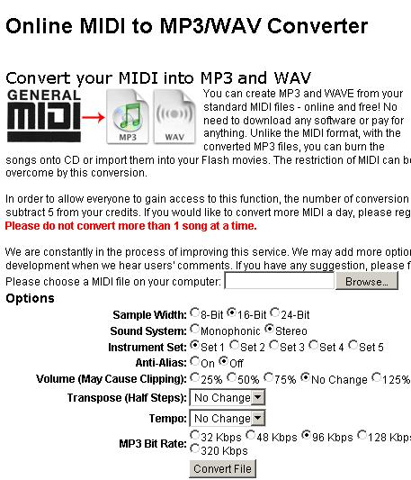 Como converter MIDI e WAV para MP3?