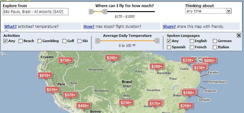 Planejador de viagem por época, preço ou interesses