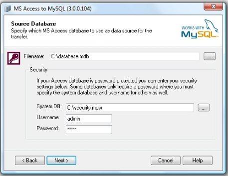 Como converter MS Access para MySQL
