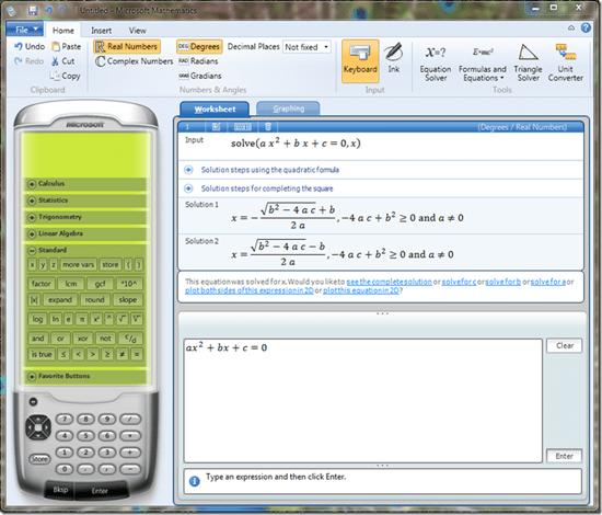 Software para Cálculo, Álgebra e Estatística: Mathematics