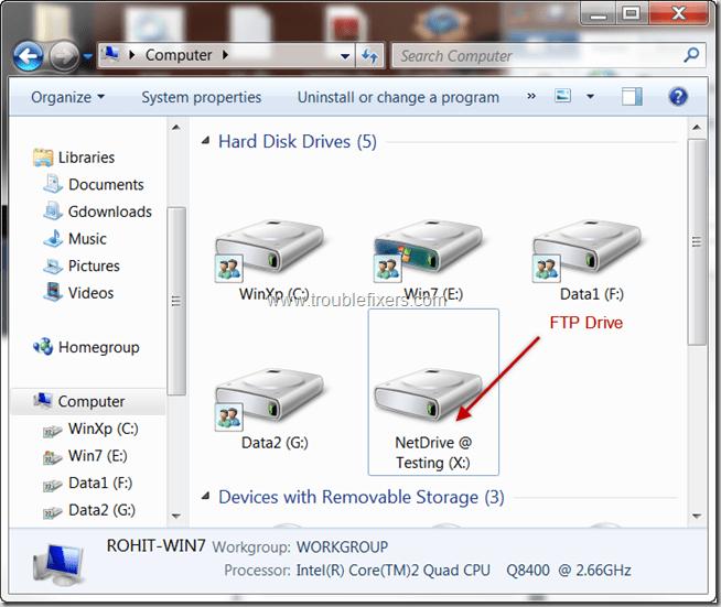 Como mapear um servidor FTP como unidade de disco