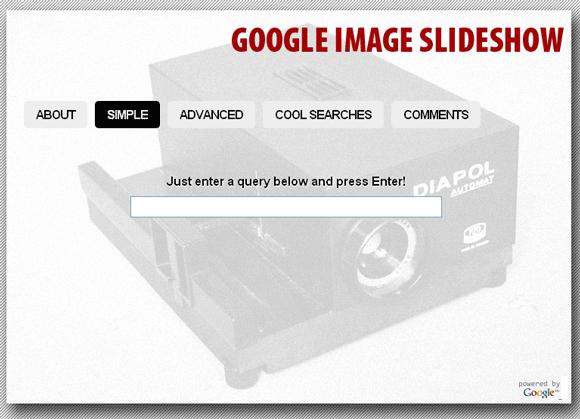 Resultados do Google Imagens como Slideshow
