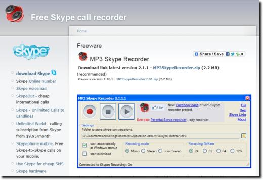 Grave as ligações pelo Skype em MP3