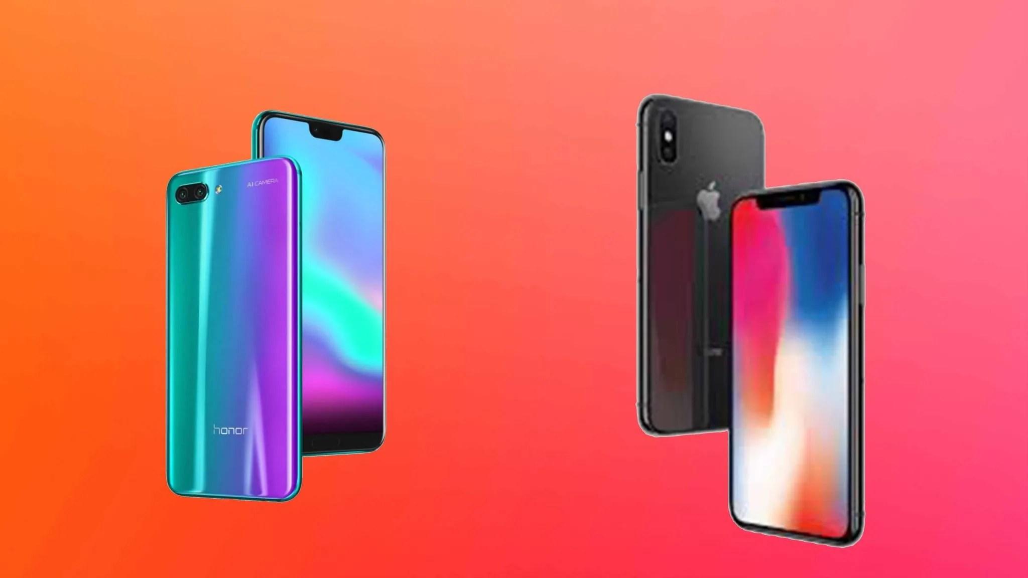 Confronto honor 10 vs iphone x