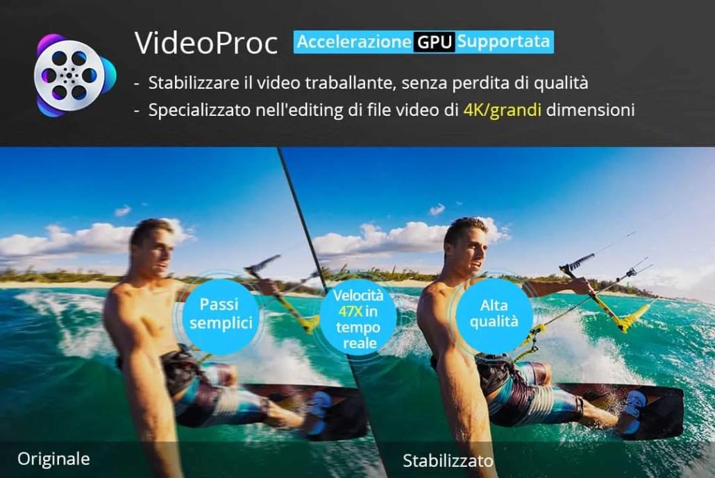 Sabilizzare video di action cam con VideoProc