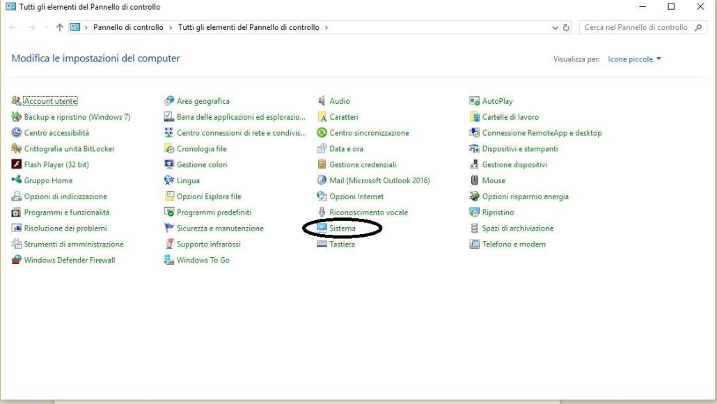 Pannello di Controllo Windows 10