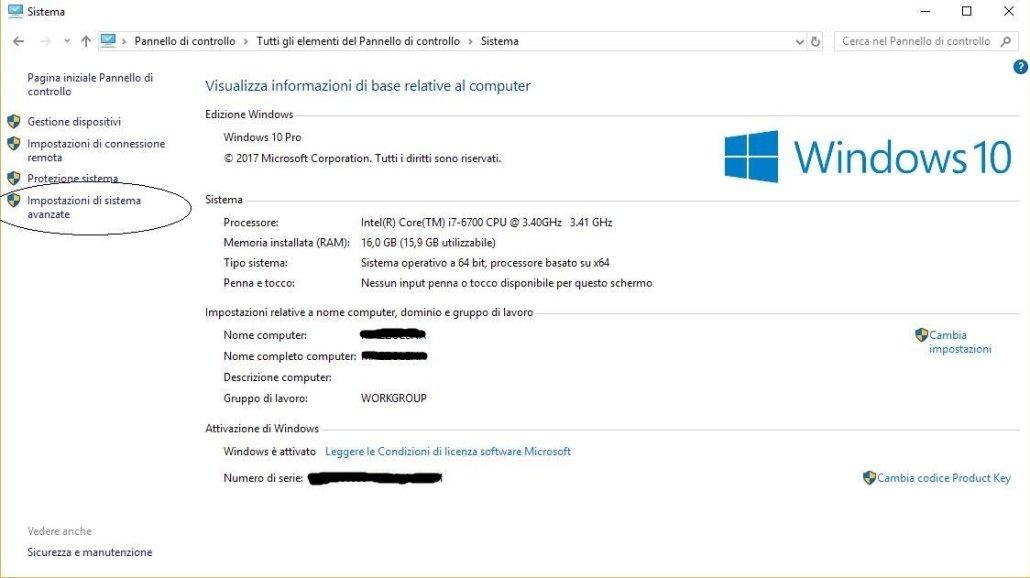 Sistema di Windows 10