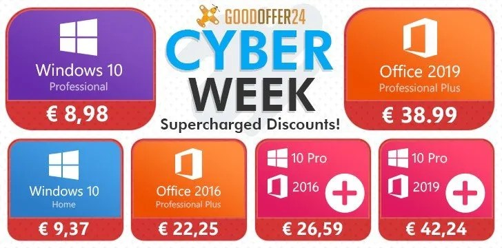 CYBER WEEK GoodOffer24 rende speciale il Cyber Monday! (Software Microsoft SCONTO fino al 35%)