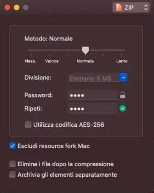 Creare archivi con password su Mac utilizzando Keka