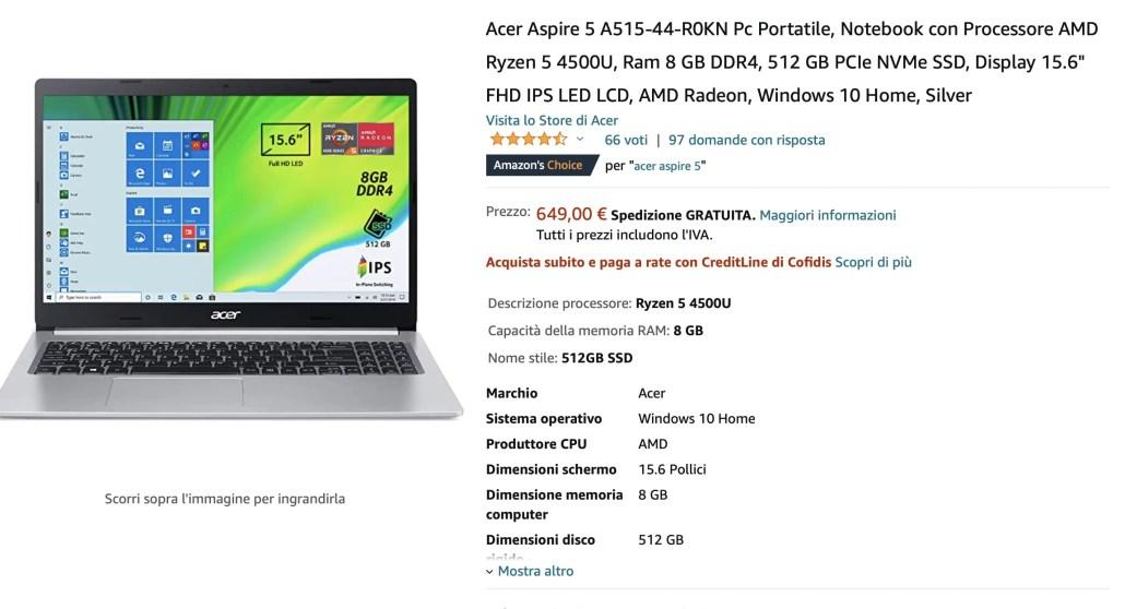 Guida Acquisto Notebook Carta Docente [Febbraio 2021]: Acer Aspire 5