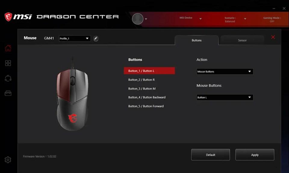 Configuración del nuevo ratón de MSI