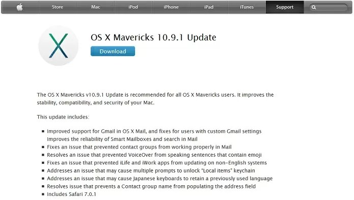 OS X Mavericks update