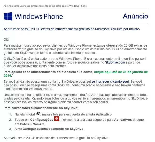 Skydrive 20 GB Windows Phone