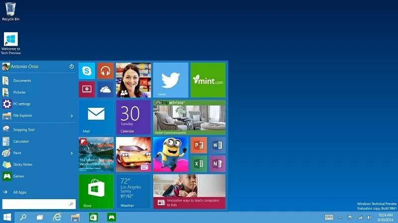 Windows 10 menu Iniciar