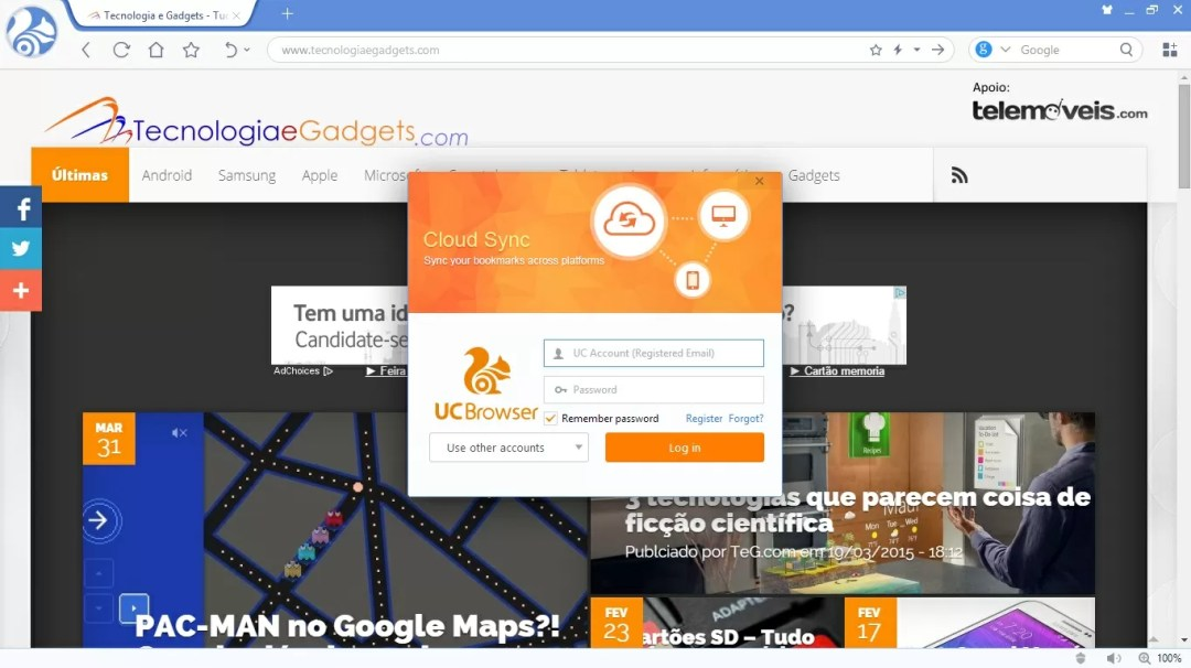 UC Browser para PC Cloud Sync