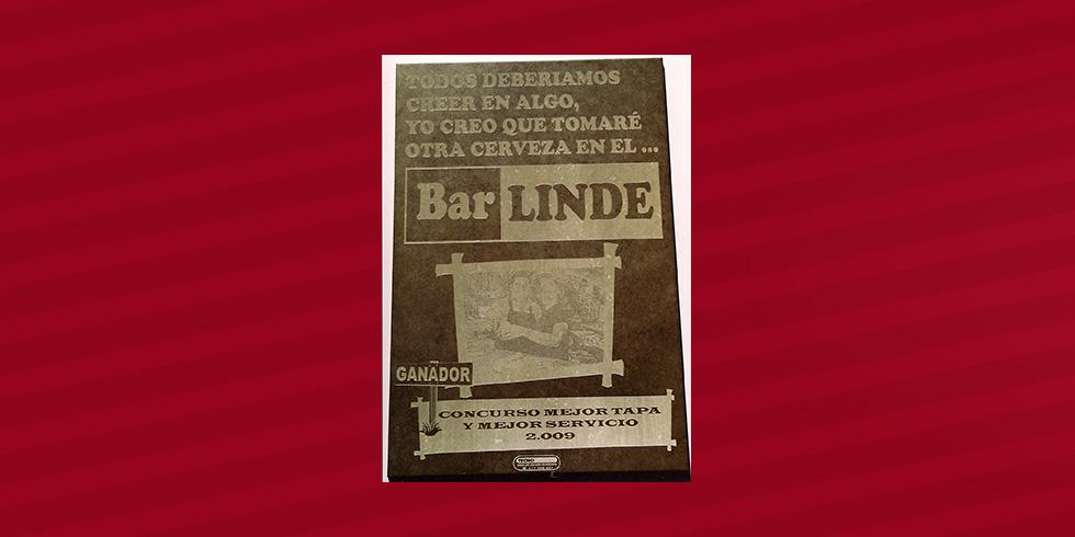 grabado láser cerámica Bar Linde