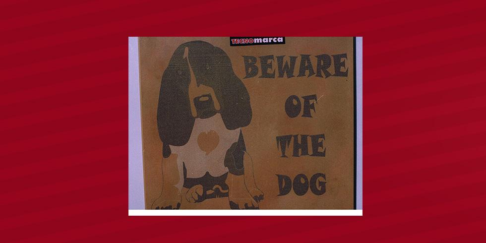 grabado láser cerámica Cuidado con el perro