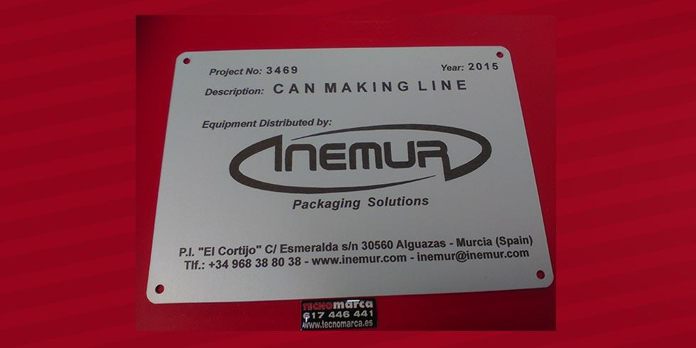 Placa aluminio Inemur