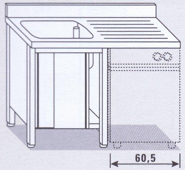 Lavello una vasca su armadio per lavastoviglie