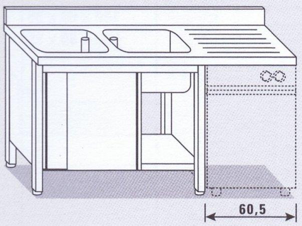 Lavello due vasche su armadio per lavastoviglie