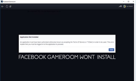 Facebook Gameroom won't Install